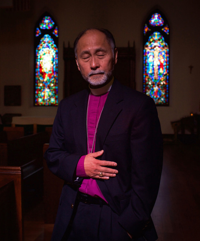 Scott- Episcopal Bishop of SLC. As a 19 year old, he was working part time in a record store while a freshman at the University of Washington. Three men came into the store and one shouted something to him. As he turned around to hear what the man said, the robber fired his gun, hitting him in the abdomen. He spent eight weeks in the hospital recovering. Photographed in The Cathedral in SLC) Tacoma, Washington 1972