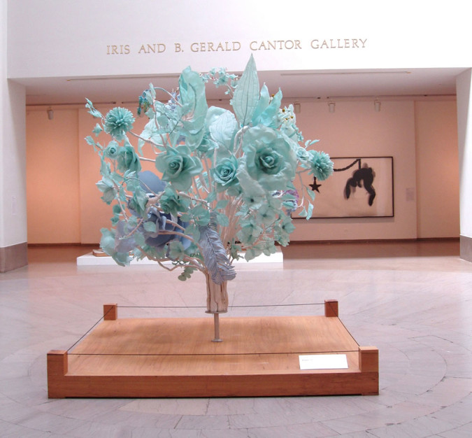 "Bouquet, 2002, 105""x84"", aqua resin, fiberglass, thermoplastic; collection of the Brooklyn Museum"