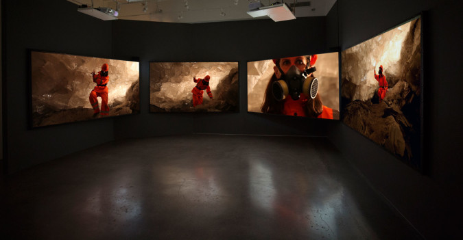 Janet Biggs, Can't Find My Way Home, 2015 (installation view at Cristin Tierney Gallery, New York, NY). Four channel, HD video installation with sound. Running time: 08:19. Courtesy of the artist, Cristin Tierney Gallery, NYC, CONNERSMITH, Washington DC, and Analix Forever, Geneva, Switzerland.