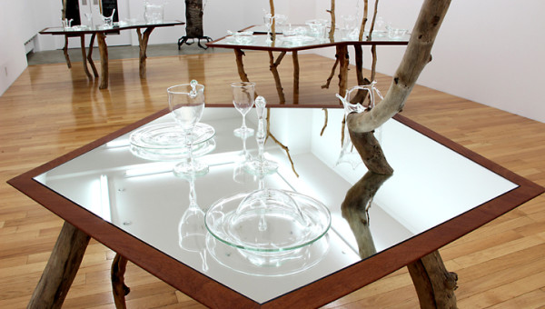 "David Shaw, Single (detail), 2013, wood, mirror, hand blown glass, 89"" x 49"" x 51"""