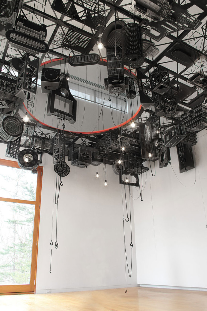 Floor/Ceiling, 2013 Site Specific Installation at the Aldrich Contemporary Art Museum, CT Hand-cut paper, ink, acrylic; structure of wood, MDF, cable; electrical cords, bulbs, hardware, 24' x 22' x 22' images courtesy of the artist and Spencer Brownstone Gallery, NYC