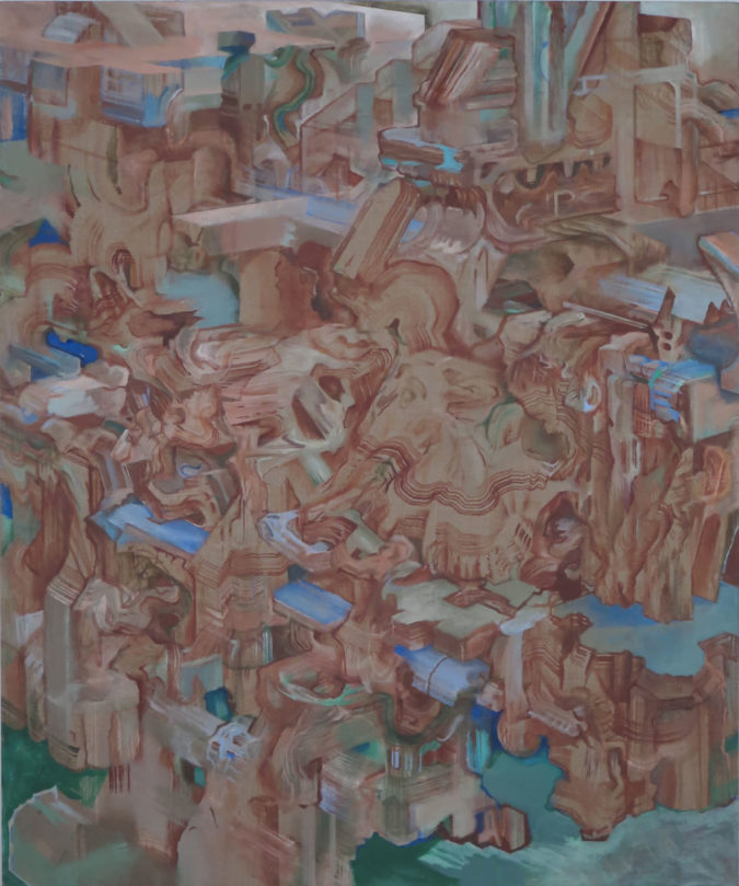 """Rubble of Its Own Debris"" oil on linen, 2009, 60""x50"""